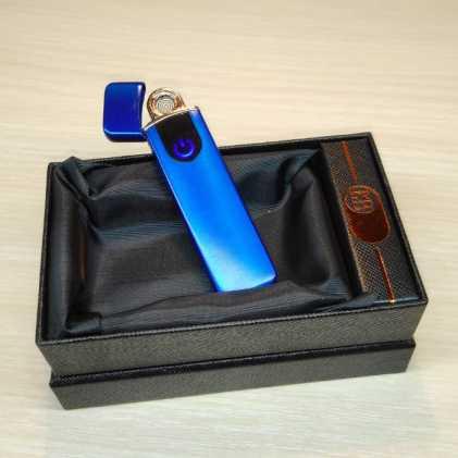 Зажигалка USB с сенсорной кнопкой, синий металлик